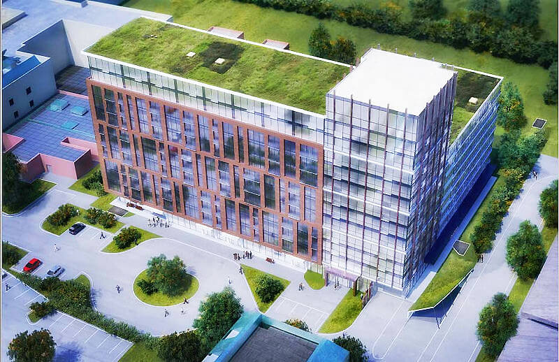 rendering of the new building sky view